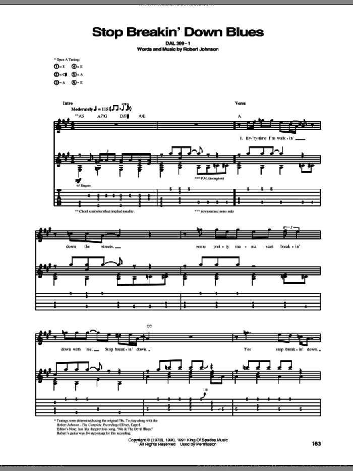 Stop Breakin' Down Blues sheet music for guitar (tablature) by Robert Johnson. Score Image Preview.
