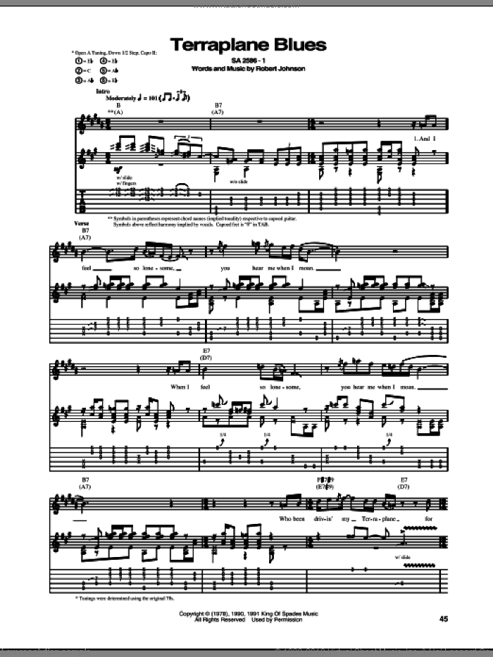Terraplane Blues sheet music for guitar (tablature) by Robert Johnson, intermediate. Score Image Preview.
