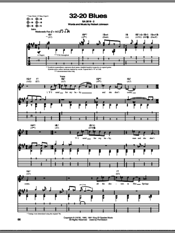 32-20 Blues sheet music for guitar (tablature) by Robert Johnson, intermediate skill level