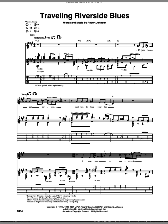 Traveling Riverside Blues sheet music for guitar (tablature) by Robert Johnson, intermediate. Score Image Preview.