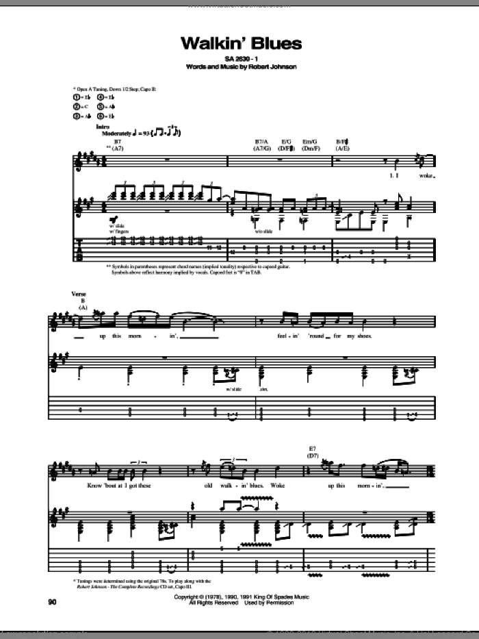 Walkin' Blues sheet music for guitar (tablature) by Robert Johnson. Score Image Preview.