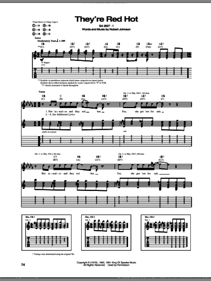 They're Red Hot sheet music for guitar (tablature) by Robert Johnson and Red Hot Chili Peppers, intermediate. Score Image Preview.