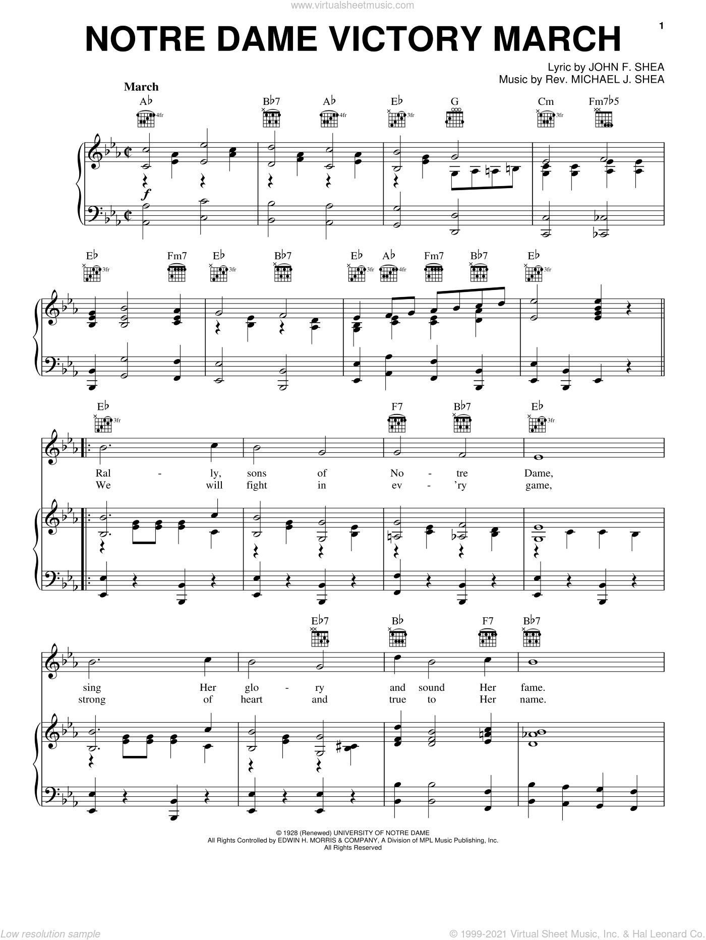 Notre Dame Victory March sheet music for voice, piano or guitar by Shea & Shea, John F. Shea and Rev. Michael J. Shea, intermediate skill level