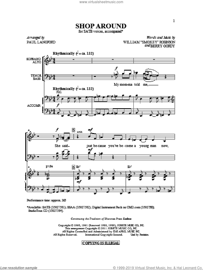 Shop Around sheet music for choir (SATB: soprano, alto, tenor, bass) by Berry Gordy, Captain & Tennille and Paul Langford, intermediate skill level