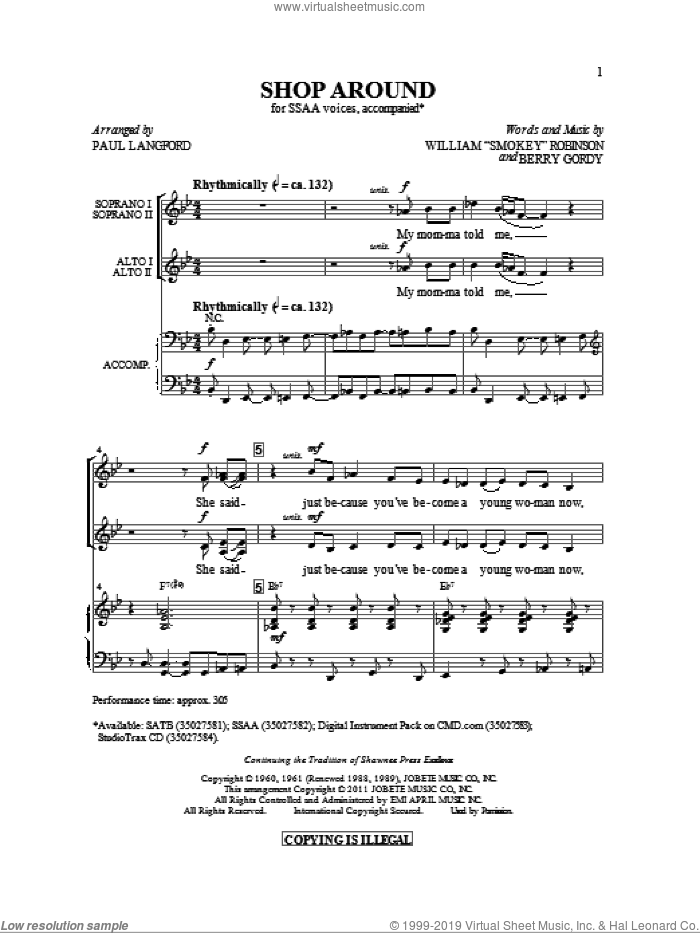 Shop Around sheet music for choir and piano (SSA) by Berry Gordy and Paul Langford. Score Image Preview.
