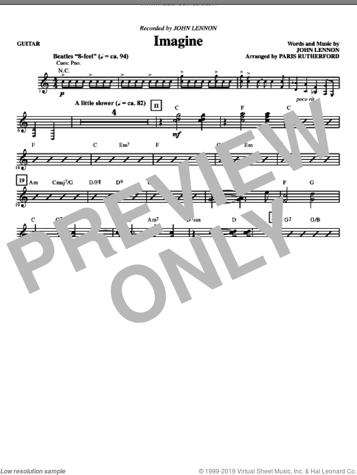Imagine (complete set of parts) sheet music for orchestra/band (Rhythm) by John Lennon and Paris Rutherford, intermediate skill level