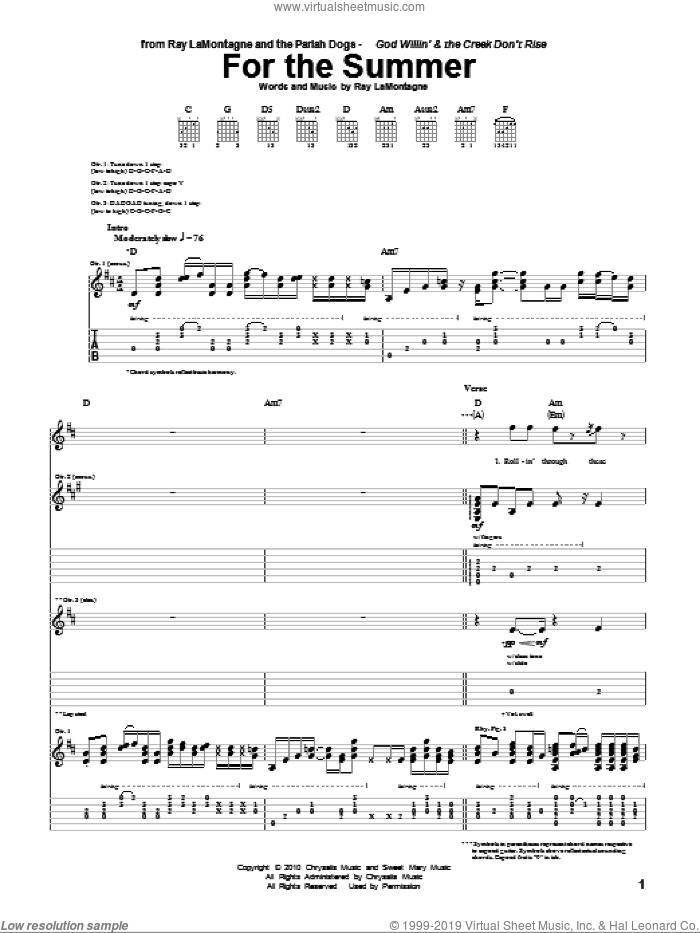 For The Summer sheet music for guitar (tablature) by Ray LaMontagne and The Pariah Dogs