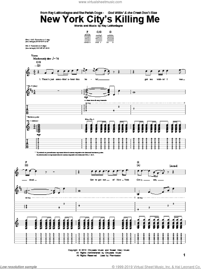 New York City's Killing Me sheet music for guitar (tablature) by Ray LaMontagne and The Pariah Dogs and Ray LaMontagne. Score Image Preview.