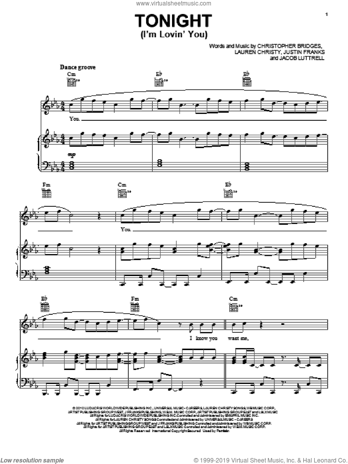 Tonight (I'm Lovin' You) sheet music for voice, piano or guitar by Enrique Iglesias, Christopher Bridges and Justin Franks, intermediate. Score Image Preview.