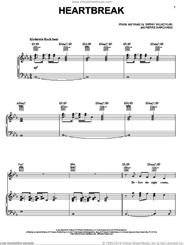 Heartbreak sheet music for voice, piano or guitar by Sarah McLachlan. Score Image Preview.
