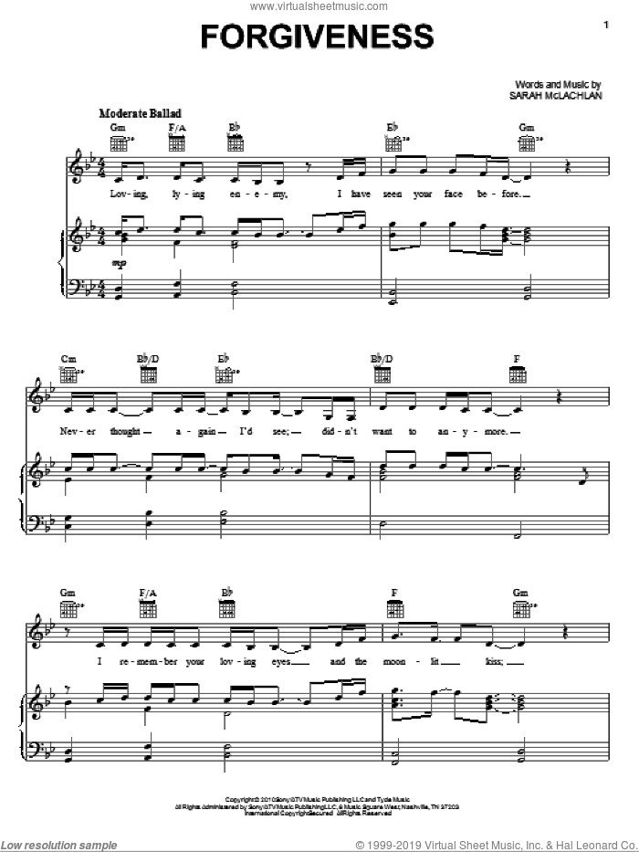 Forgiveness sheet music for voice, piano or guitar by Sarah McLachlan, intermediate skill level
