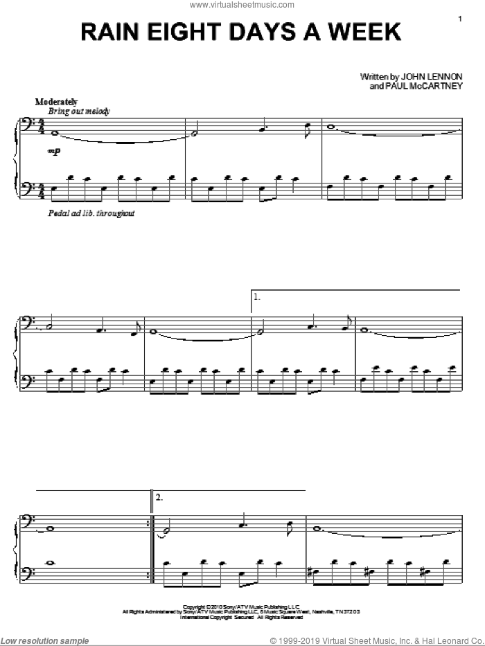 Rain Eight Days A Week sheet music for piano solo by David Lanz, The Beatles, John Lennon and Paul McCartney, intermediate. Score Image Preview.
