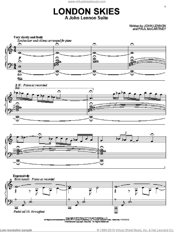 London Skies - A John Lennon Suite sheet music for piano solo by Paul McCartney