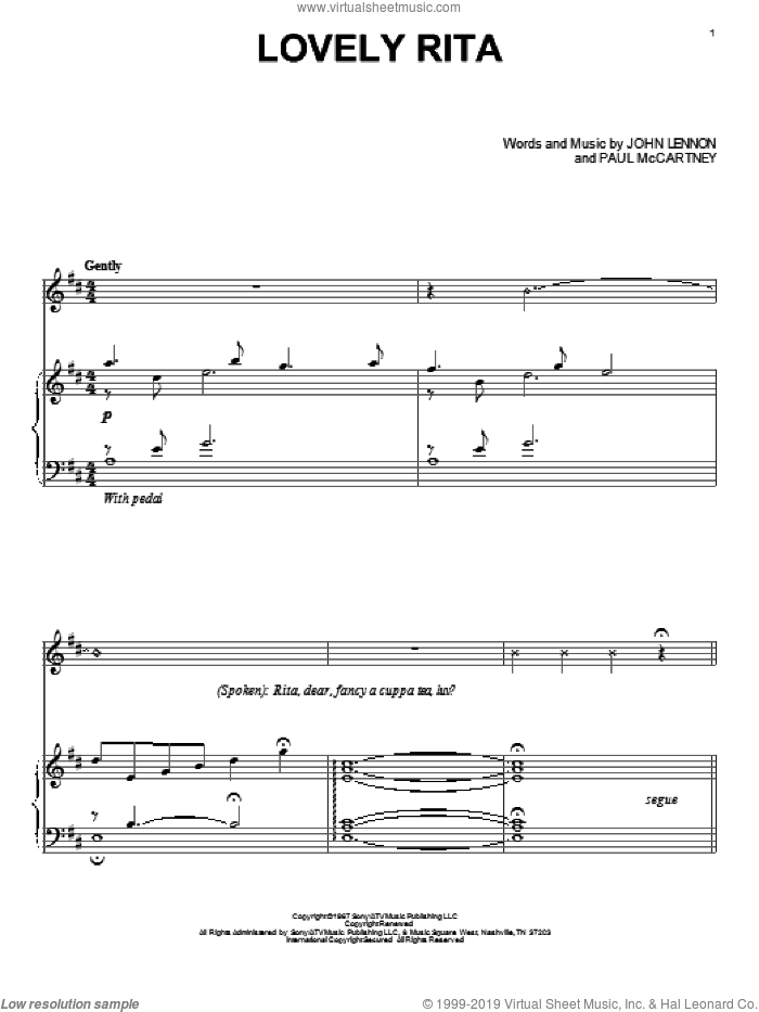 Lovely Rita sheet music for piano solo by Paul McCartney