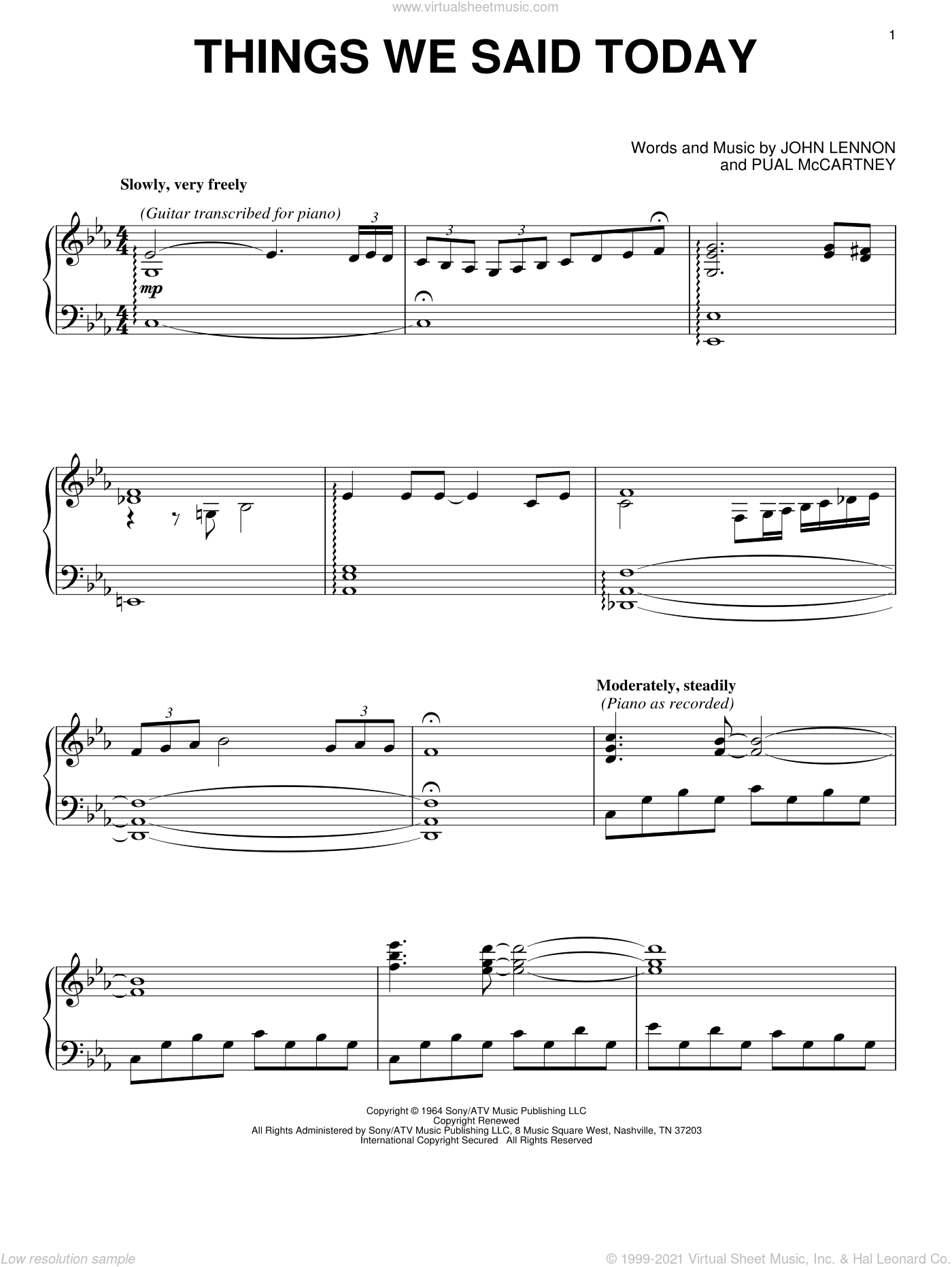 Things We Said Today sheet music for piano solo by David Lanz, The Beatles, John Lennon and Paul McCartney, intermediate skill level