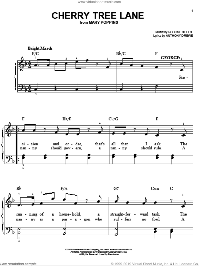Cherry Tree Lane sheet music for piano solo by George Stiles and Anthony Drewe. Score Image Preview.