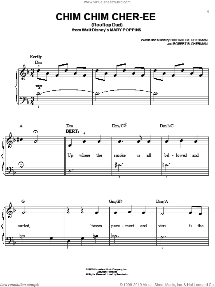 Chim Chim Cher-ee sheet music for piano solo by Sherman Brothers, Mary Poppins (Musical), Anthony Drewe, George Stiles, Richard M. Sherman and Robert B. Sherman, easy skill level
