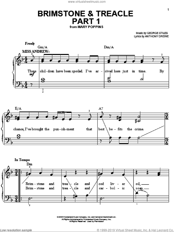 Brimstone and Treacle Part 1 sheet music for piano solo by Anthony Drewe, Mary Poppins (Musical) and George Stiles, easy skill level