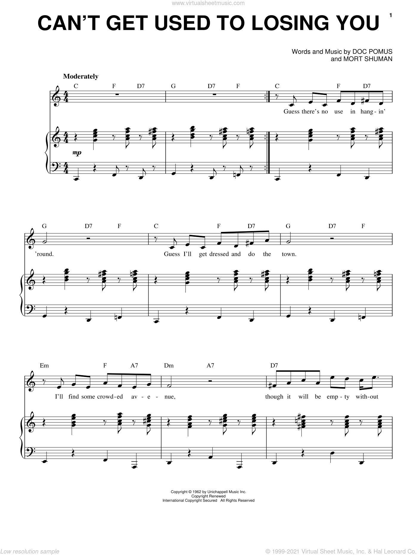 Can't Get Used To Losing You sheet music for voice and piano by Andy Williams, Doc Pomus, Jerome Pomus and Mort Shuman, intermediate skill level