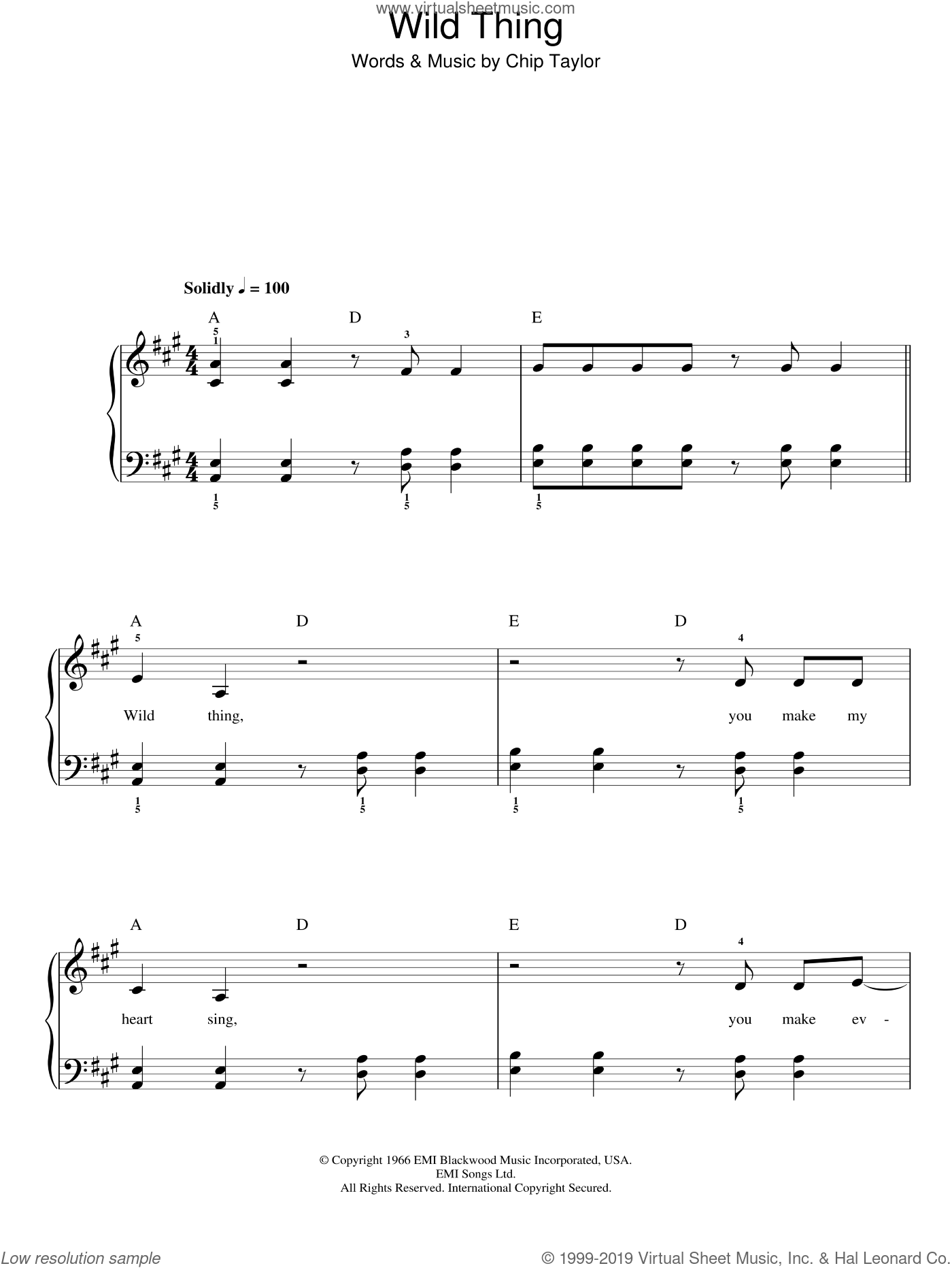 Wild Thing sheet music for piano solo by Chip Taylor. Score Image Preview.