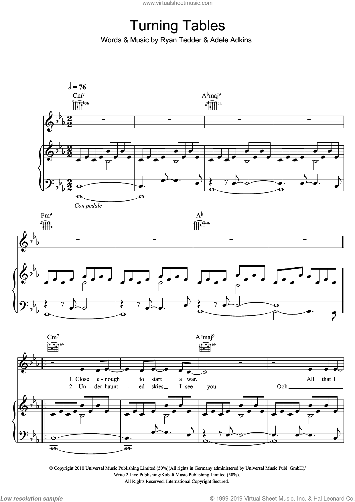 Turning Tables sheet music for voice, piano or guitar by Adele, Adele Adkins and Ryan Tedder, intermediate skill level
