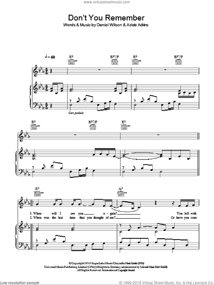 Don't You Remember sheet music for voice, piano or guitar by Dan Wilson
