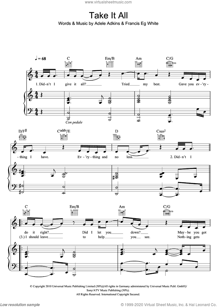Take It All sheet music for voice, piano or guitar by Francis White, Adele and Adele Adkins. Score Image Preview.