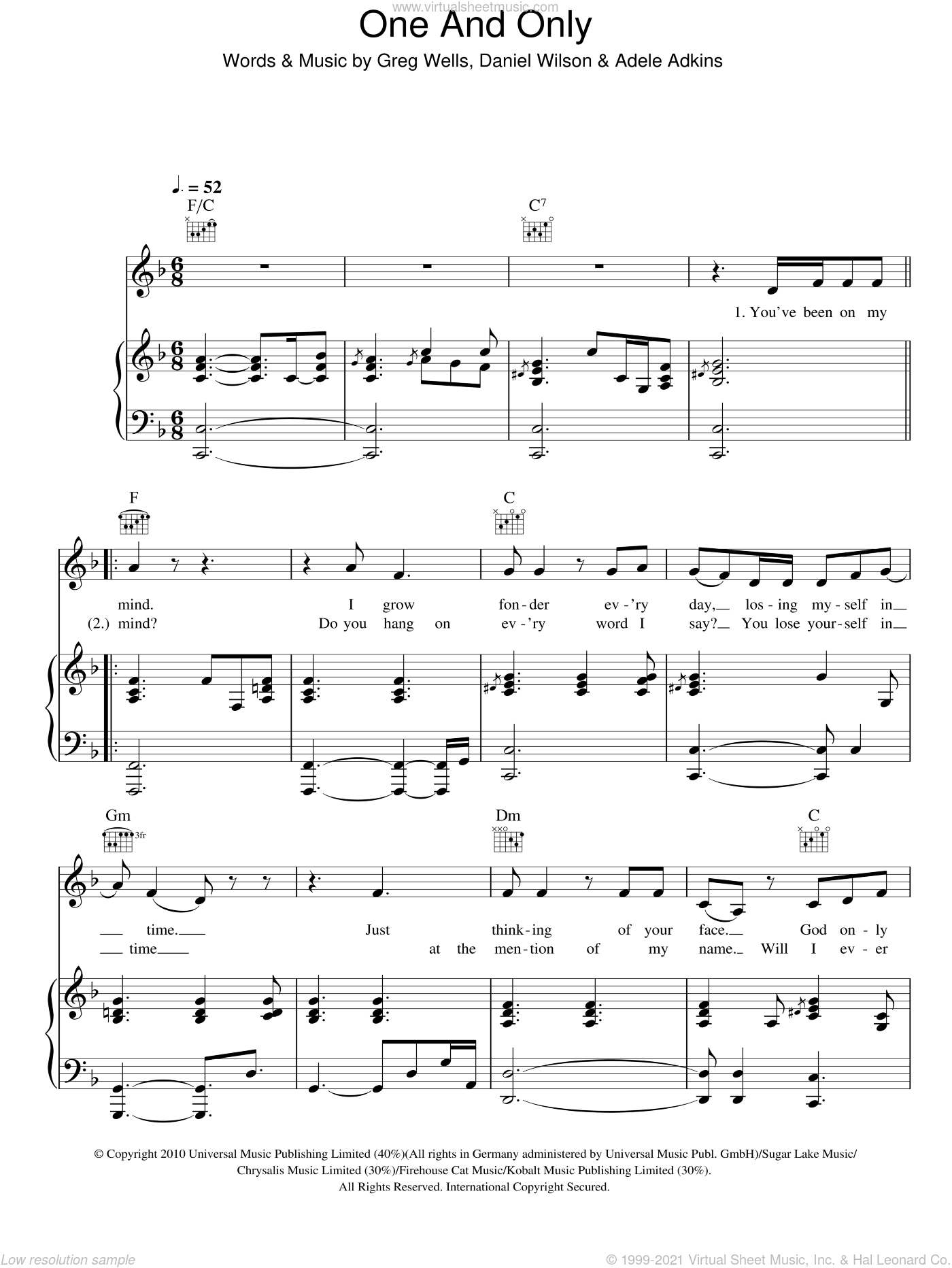 One And Only sheet music for voice, piano or guitar by Adele, Adele Adkins, Dan Wilson and Greg Wells, intermediate skill level