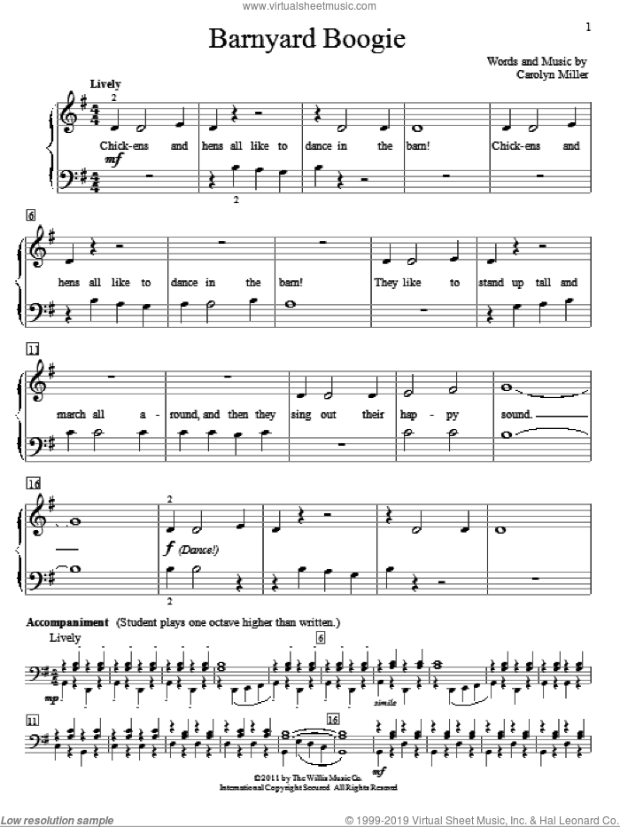 Barnyard Boogie sheet music for piano solo (elementary) by Carolyn Miller. Score Image Preview.