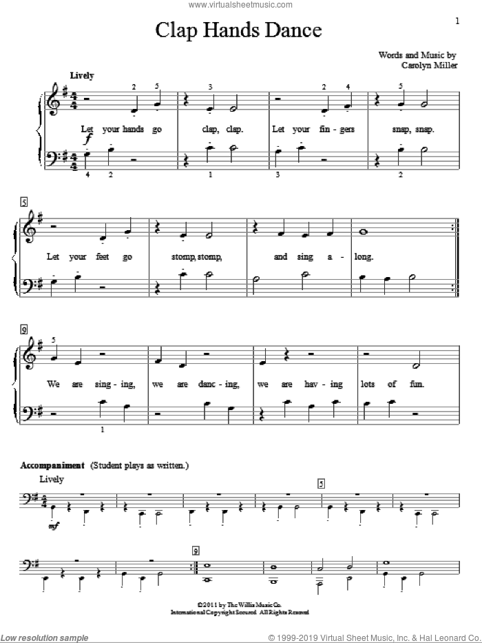 Clap Hands Dance sheet music for piano solo (elementary) by Carolyn Miller. Score Image Preview.