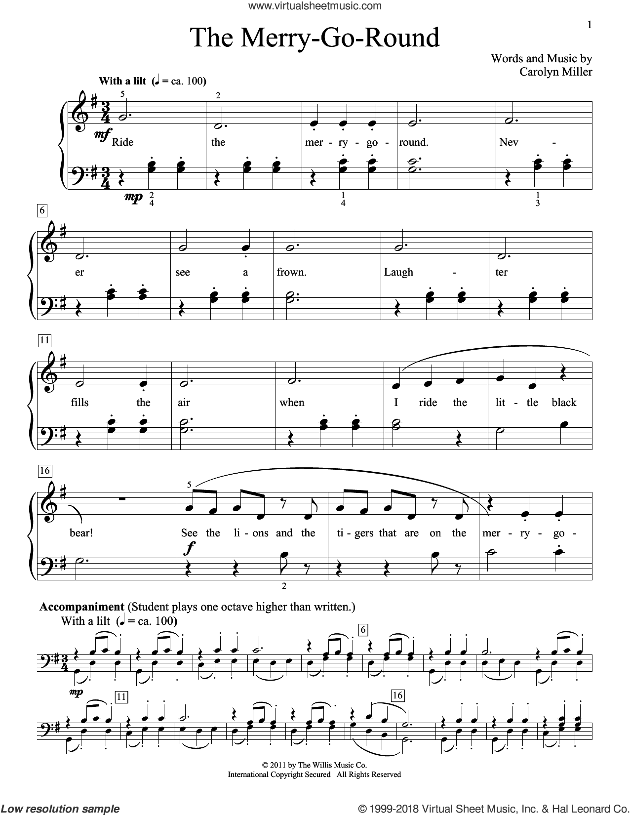 The Merry-Go-Round sheet music for piano solo (elementary) by Carolyn Miller, beginner piano (elementary). Score Image Preview.