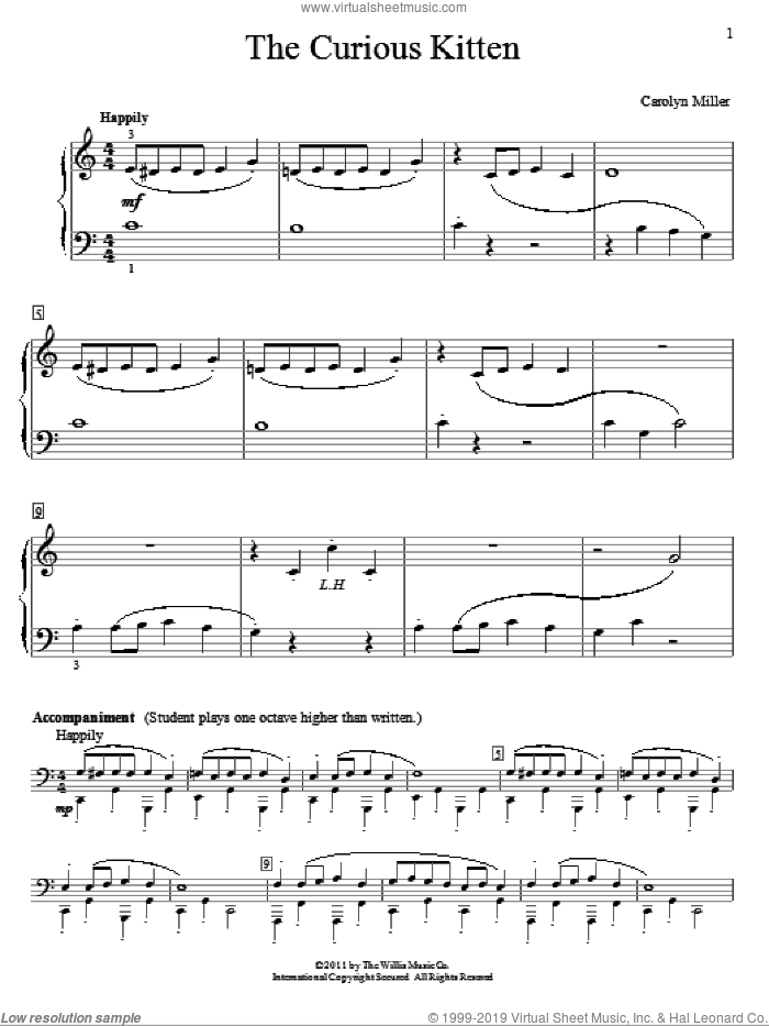 The Curious Kitten sheet music for piano solo (elementary) by Carolyn Miller, beginner piano (elementary). Score Image Preview.