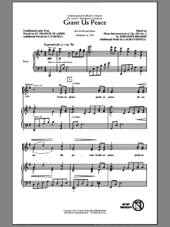 Grant Us Peace sheet music for choir and piano (SATB) by Johannes Brahms