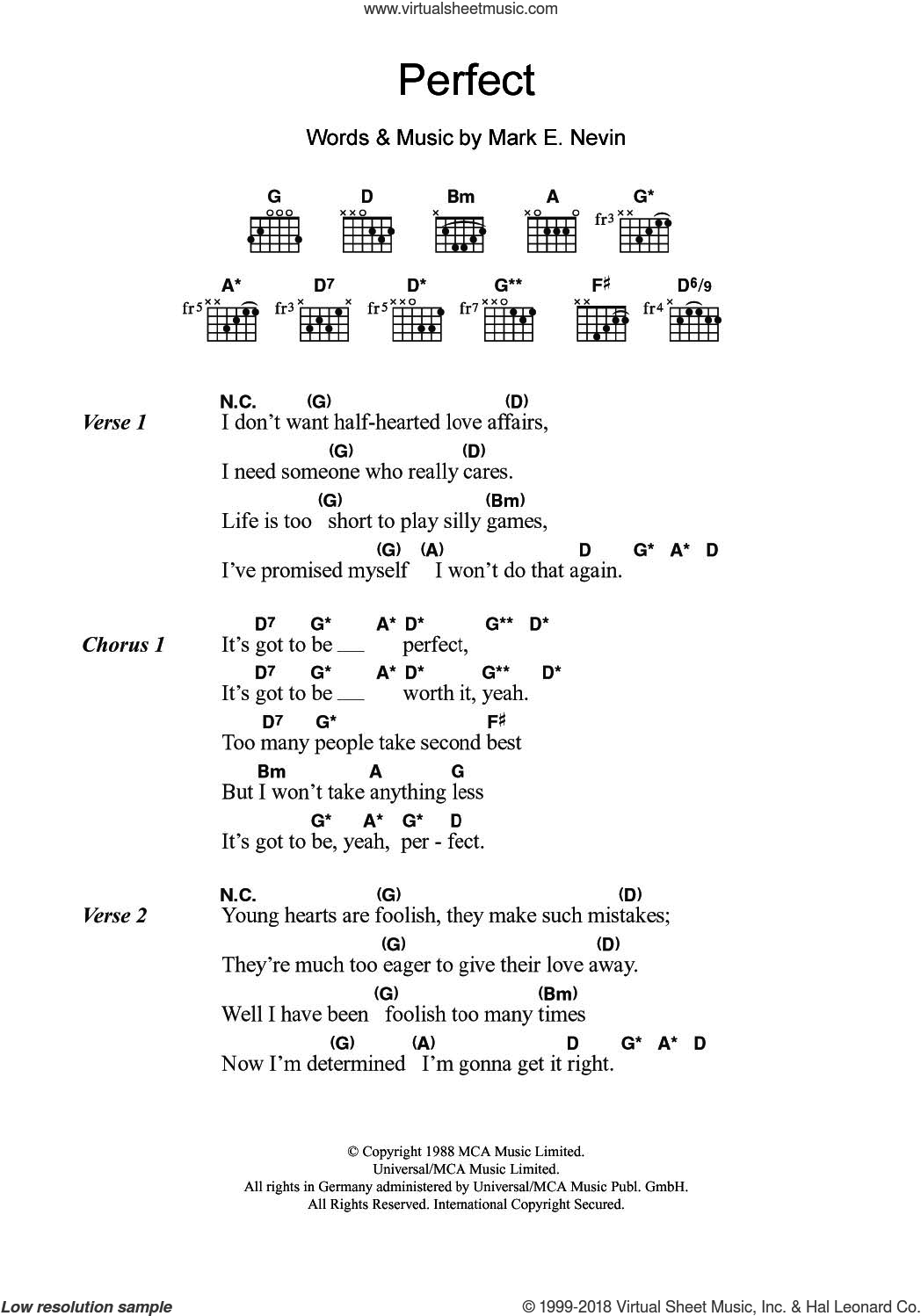 Perfect sheet music for guitar (chords) by Mark E. Nevin