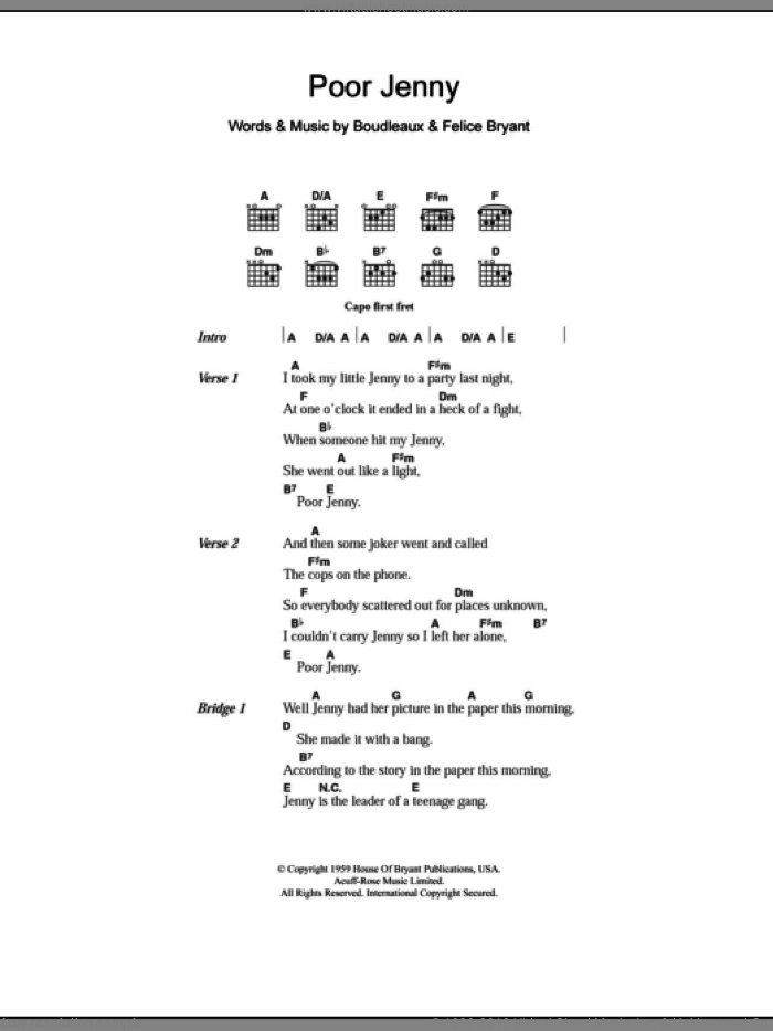 Poor Jenny sheet music for guitar (chords) by Everly Brothers and Boudleaux Bryant, intermediate