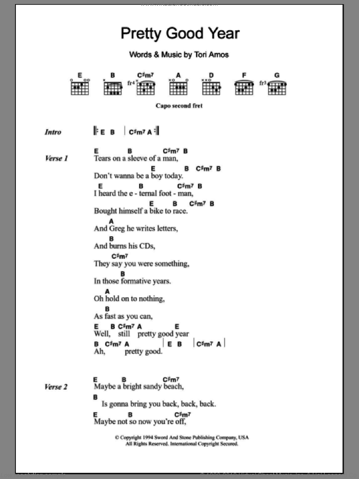 Pretty Good Year sheet music for guitar (chords) by Tori Amos, intermediate. Score Image Preview.