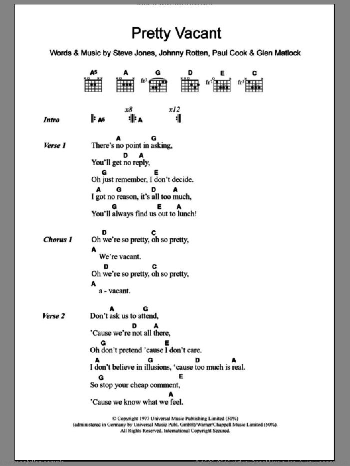 Pretty Vacant sheet music for guitar (chords) by Sex Pistols and Paul Cook, intermediate guitar (chords). Score Image Preview.