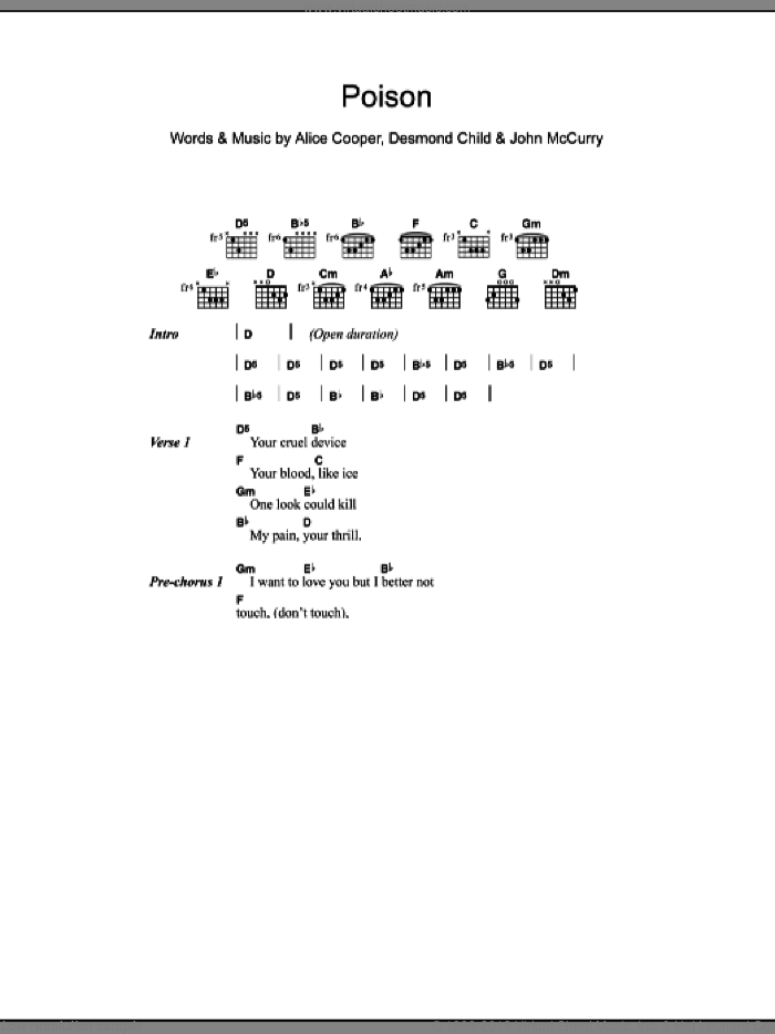 Poison sheet music for guitar (chords) by Alice Cooper and Desmond Child. Score Image Preview.