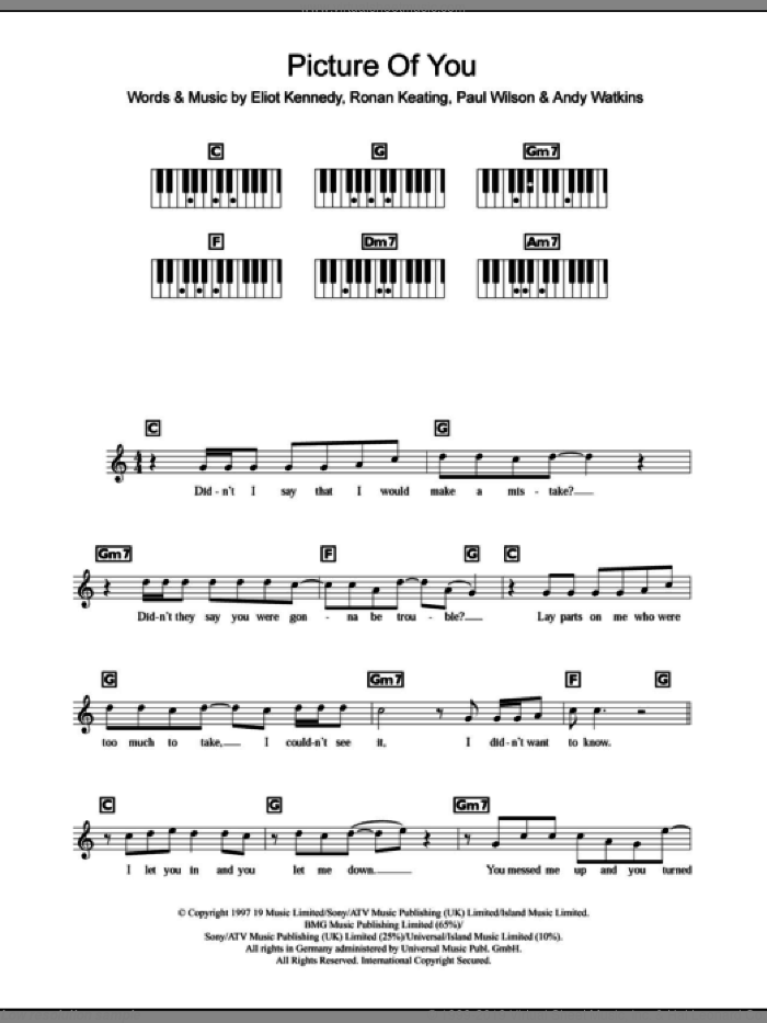 Picture Of You sheet music for piano solo (chords, lyrics, melody) by Ronan Keating, Boyzone, Andy Watkins, Eliot Kennedy and Paul Wilson. Score Image Preview.