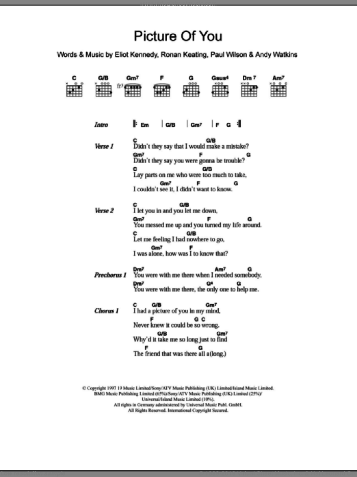 Picture Of You sheet music for guitar (chords) by Ronan Keating, Boyzone, Andy Watkins, Eliot Kennedy and Paul Wilson. Score Image Preview.