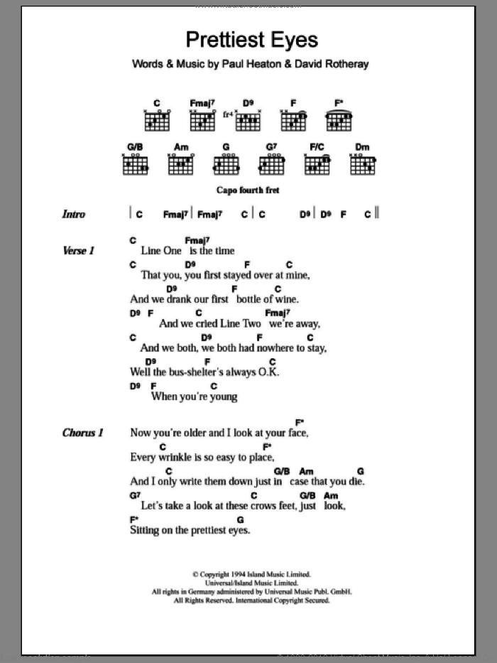 Prettiest Eyes sheet music for guitar (chords) by The Beautiful South, Beautiful South, David Rotheray and Paul Heaton, intermediate. Score Image Preview.