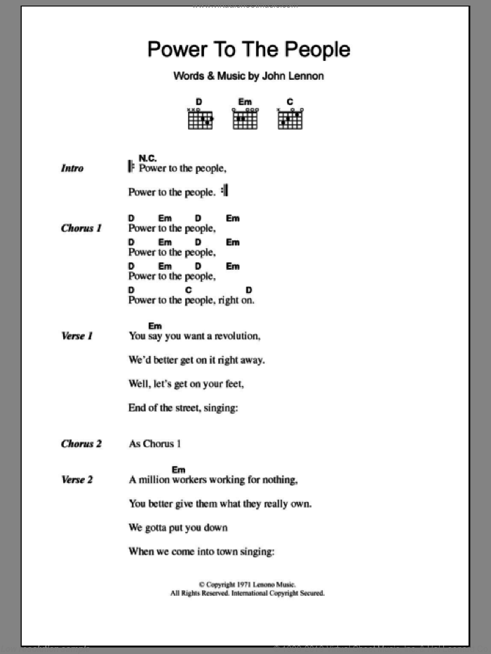 Power To The People sheet music for guitar (chords) by John Lennon, intermediate guitar (chords). Score Image Preview.