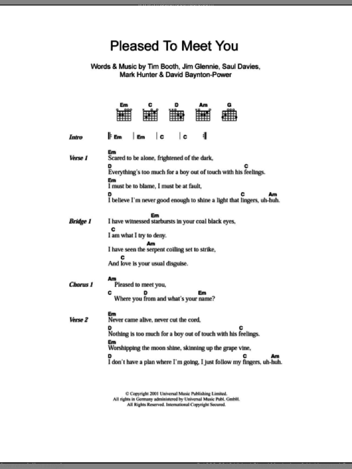 Pleased To Meet You sheet music for guitar (chords) by Tim Booth