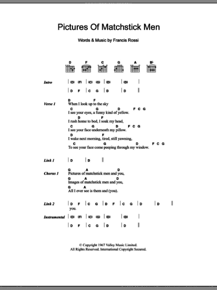 Pictures Of Matchstick Men sheet music for guitar (chords) by Status Quo, intermediate guitar (chords). Score Image Preview.