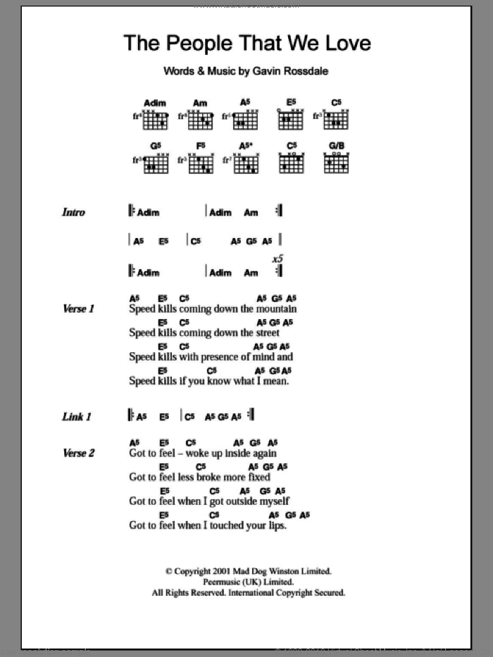 The People That We Love sheet music for guitar (chords) by Gavin Rossdale, intermediate. Score Image Preview.