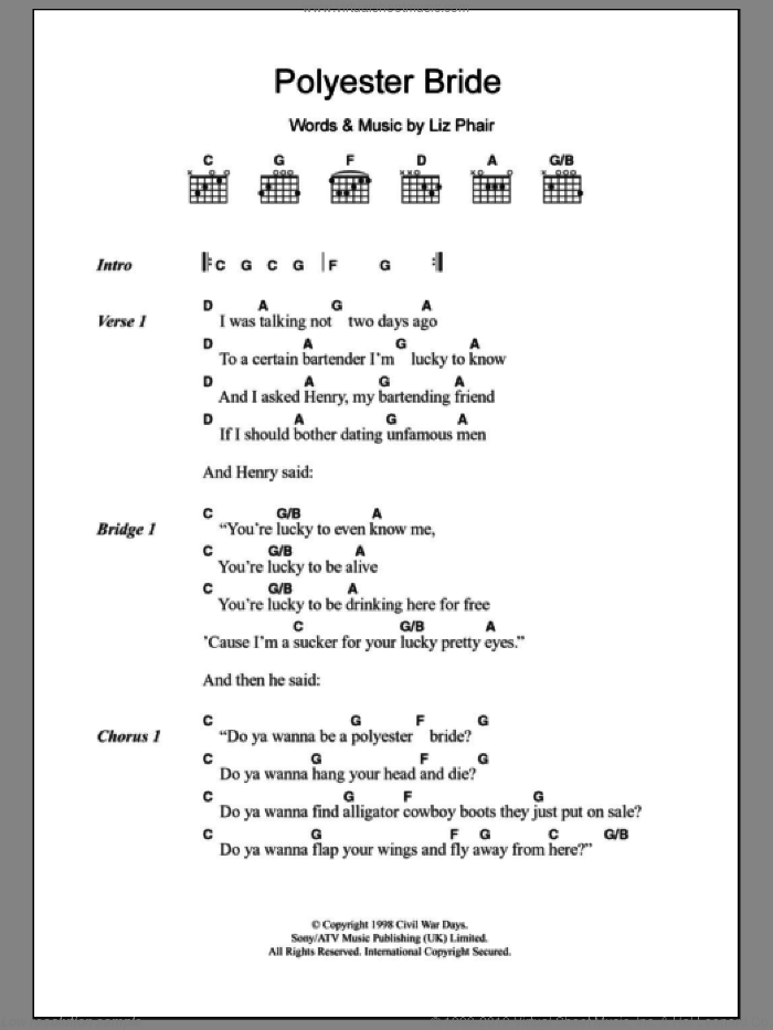 Polyester Bride sheet music for guitar (chords) by Liz Phair, intermediate