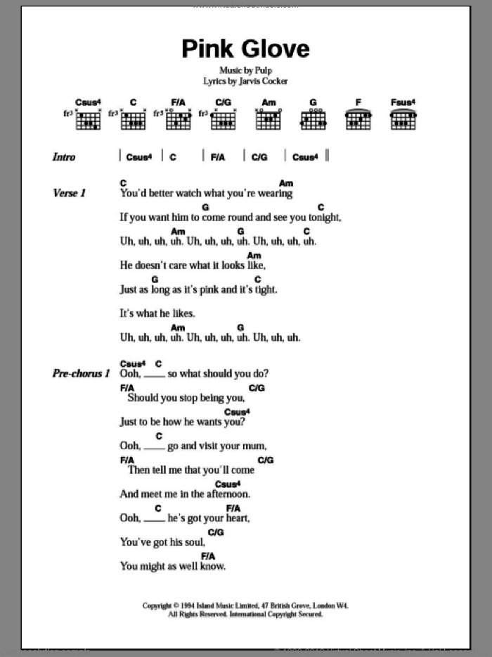Pink Glove sheet music for guitar (chords) by Pulp and Jarvis Cocker, intermediate. Score Image Preview.