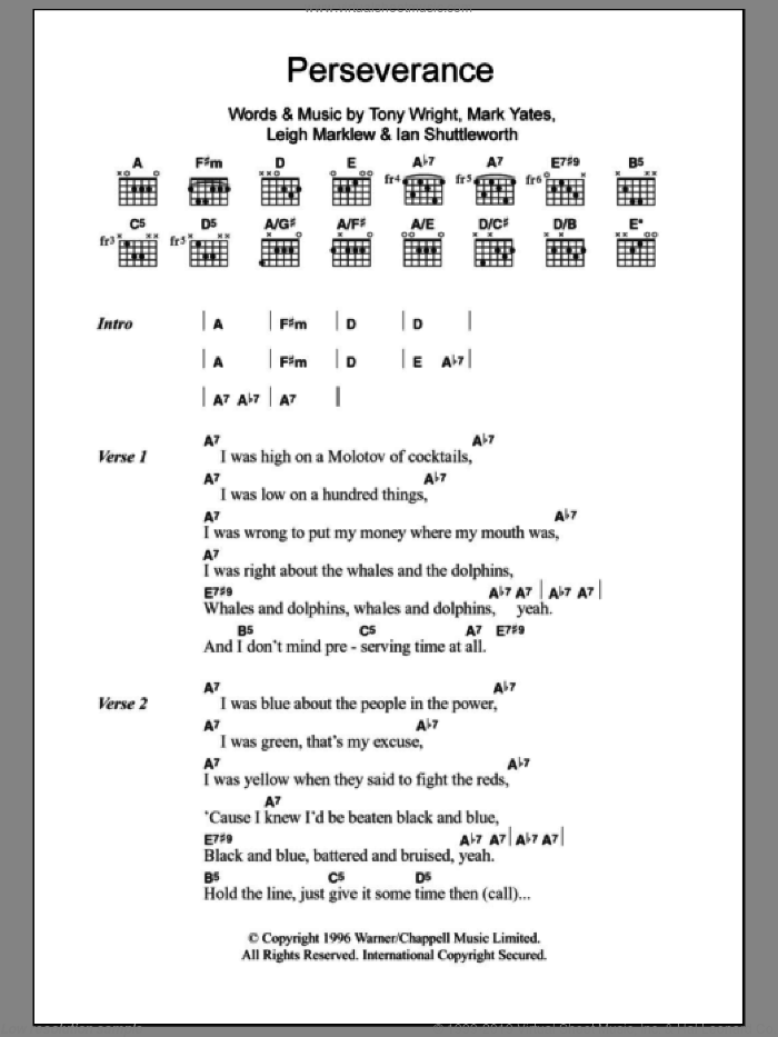 Perseverance sheet music for guitar (chords, lyrics, melody) by Tony Wright