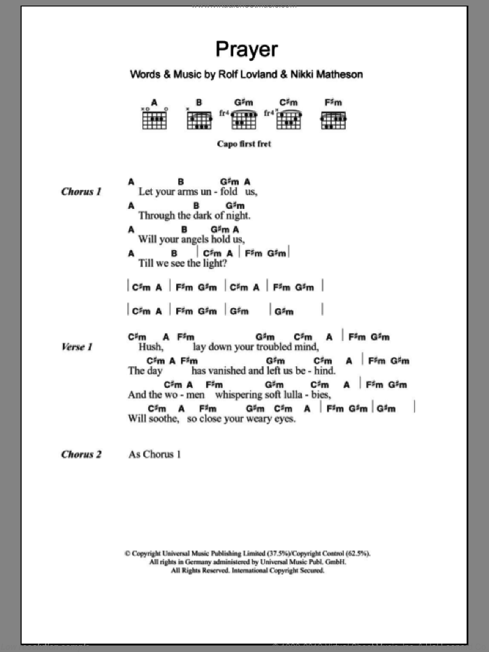 Matheson - Prayer sheet music for guitar (chords)