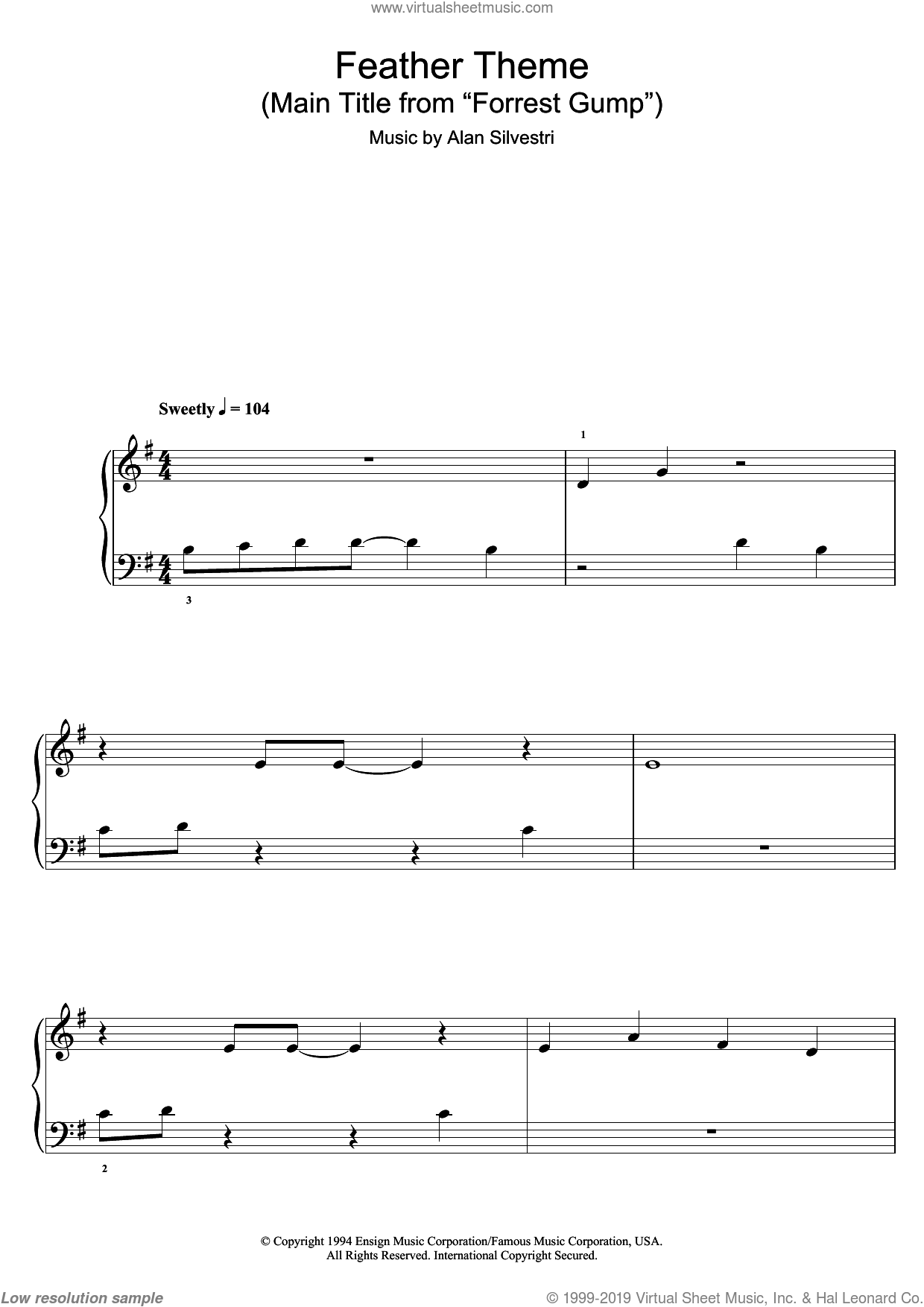 Feather Theme (Main Title from Forrest Gump) sheet music for piano solo (chords) by Alan Silvestri